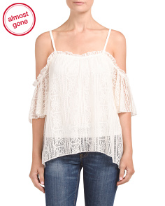 Juniors Lace Cold Shoulder Top