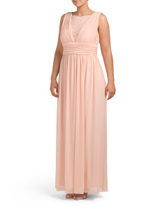 Plus Mesh V Neck Prom Gown