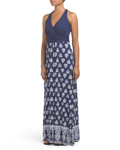 V Neck Back Twist Maxi Dress