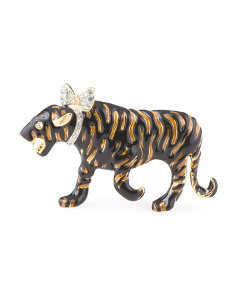 Made In Usa Enamel Tiger Pin With Crystal Bow
