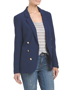 Juniors Crepe Double Breasted Blazer