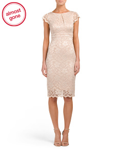 Made In USA Cap Sleeve V-Back Lace Dress