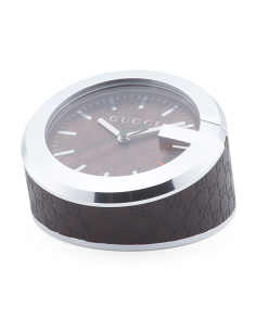 Swiss Made Logo Table Clock With Leather Wrapped Base