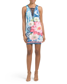 Juniors Lace Up Printed Bodycon Dress