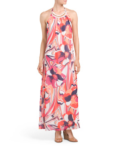 Made In USA Chain Detail Printed Maxi Dress