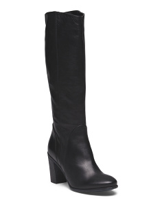 Made In Italy Leather Chunky Heel Boot