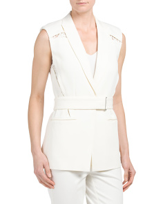 Refined Suiting Vest With Lace
