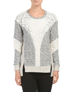 Long Sleeve Lurex Lace Sweater