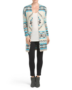 Juniors Long Sleeve Straight Cardigan