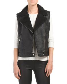 Juniors Sherpa Lined Moto Vest