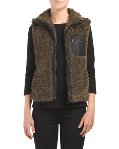 Juniors Wooly Zip Vest