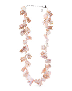 Sterling Silver Peach Fresh Water Pearl Necklace