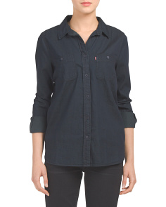 Juniors Button Down Woven Shirt