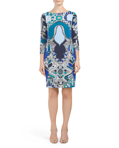 Three Quarter Sleeve Print Shift Dress