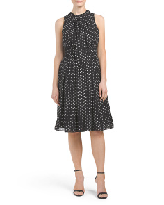 Polka Dot Bow Tie Neck Dress