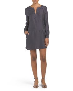 Silk Twill Pocket Tunic Dress
