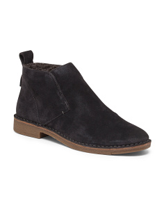 Suede Laceless Chukka Faux Shearling Booties