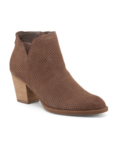 Perforated Casual Heel Suede Booties