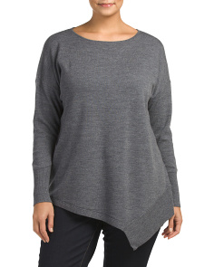 Plus Merino Wool Asymmetrical Sweater