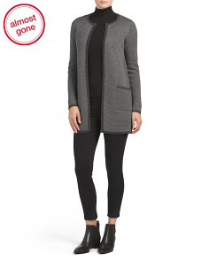 Birdseye Merino Wool Double Knit Cardigan