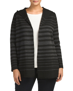 Plus Hooded Double Knit Cardigan