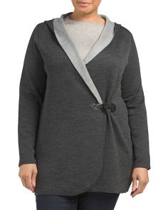 Plus Merino Wool Hooded Cardigan