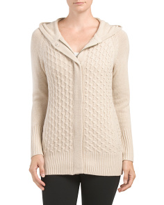 All Over Cable Zip Front Cardigan