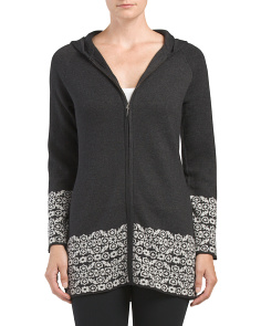 Hooded Double Knit Cardigan