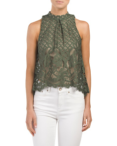 Juniors Floral Lace Swing Top