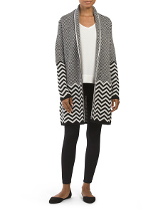 Made In Italy Chevron Long Sleeve Cardigan
