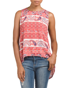 Juniors Paisley Print Scoop Neck Tank