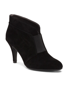 Suede Ankle Booties With Elastic Trim