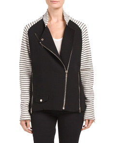 Wool Knit Stripped Crepe Jacket