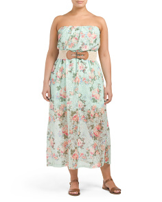 Juniors Plus Strapless Floral Maxi Dress