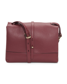 Made In Italy Leather Foldover Flap Bag