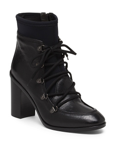 Made In Italy Leather Lace Up Grannie High Heel Booties