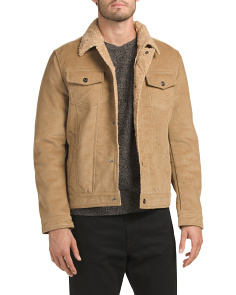Corduroy And Faux Sherpa Coat