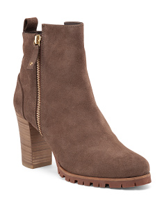 Made In Spain Suede High Stack Heel Booties