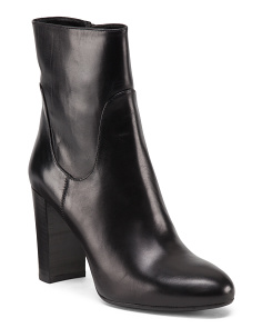 Made In Italy Clean Leather High Calf Dress Booties