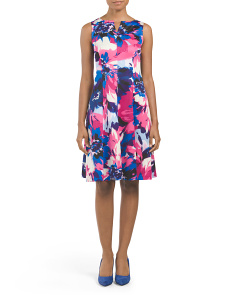 Sleeveless Scuba Floral Print Dress