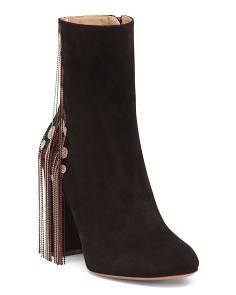 Made In Italy Fringe Embroidered Suede Booties