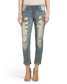 Juniors Destructed Skinny Boyfriend Jean
