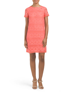 Petal Stripe Lace Shift Dress