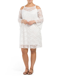 Juniors Plus Cold Shoulder Lace Dress
