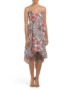 Juniors Hi Lo Mixed Print Cami Dress