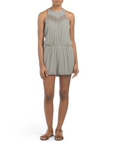 Juniors Lace Crochet High Neck Romper