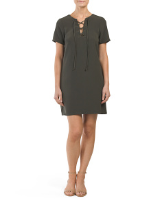 Juniors Lace Up Shift Dress