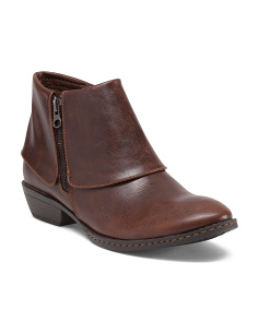 Atlana Leather Foldover Low Booties