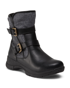Hiker Buckle Tweed Trim Boots
