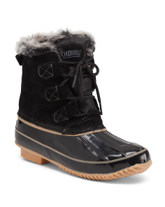 Lace Up Faux Fur Trim Duck Boots
